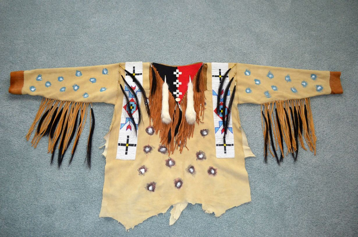 Cree War shirt by Robert Crying Redbear (Cree) Hand Sewn with Indian  tanned 534013f6f